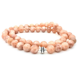 Collier de perles de Pierre de Soleil naturelle