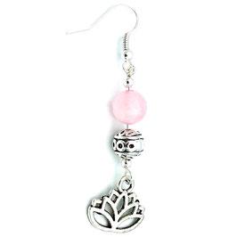 Boucles d'oreilles Quartz Rose Lotus a