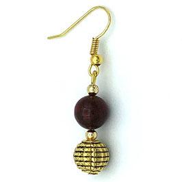 Boucles d'oreilles Jaspe Bréchique et perles alliage style tibétain  - 1er chakra