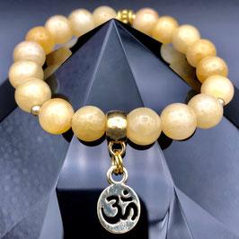 """Om"" Bracelet Jade Jaune"