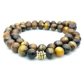 Collier de perles d'Œil de Tigre naturel