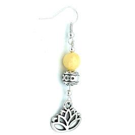 Boucles d'oreilles Jade Jaune Lotus 3ème chakra