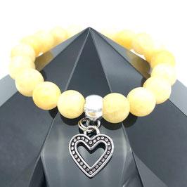 """""""Cœur"""" Bracelet Jade Jaune"""