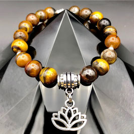"""Lotus"" Bracelet Œil de Tigre"