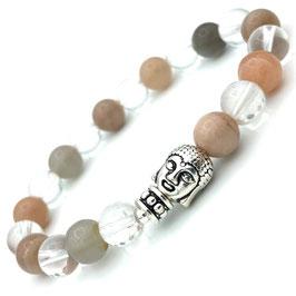 Bracelet Bouddha Pierre de Lune et Cristal de Roche