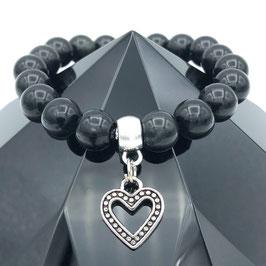 """Cœur"" Bracelet Obsidienne"