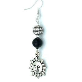 Boucles d'oreilles Obsidienne et pendentifs Soleil