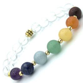 Bracelet 7 Chakras et Cristal de Roche
