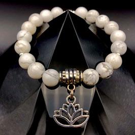 """Lotus"" Bracelet Howlite"