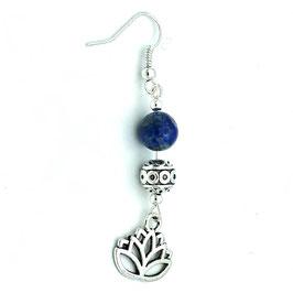 Boucles d'oreilles Lapis-lazuli Lotus 6ème chakra
