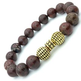 Bracelet en Jaspe Bréchique et perles tibétaines O - 1er Chakra