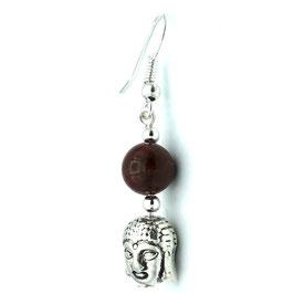 Boucles d'oreilles Jaspe Bréchique et tête du Bouddha - 1er chakra