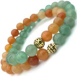 """Double"" Bracelet Aventurine Orange et Verte"