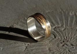 Silberring mit Baumrindenstruktur teilvergoldet