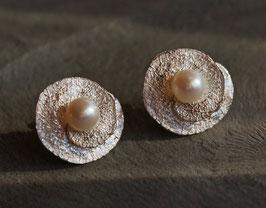Samenohrstecker Silber groß mit Perlen