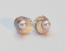 Ohrstecker kleine Samen Silber mit Perlen
