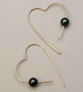 Goldcreolen mit schwarzen Perlen