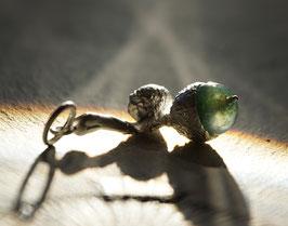 Eichelanhänger Silber mit Moosachat