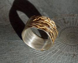 Silberbandring strukturiert und teilvergoldet