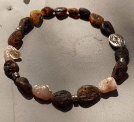 Bernsteinkette mit Schlangenachat und Silber