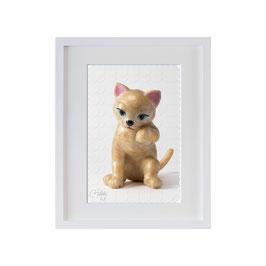 ラベル版画™209「ネコちゃん」