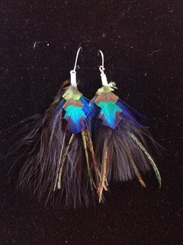 Boucle d'oreille SOLEIL   plumes d'autruche