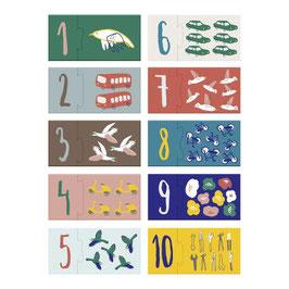 """puzzle chiffre 1 à 10 """"petit conducteur / oiseaux chanteurs"""""""