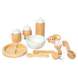 set XL en bois repas & soins pour poupée