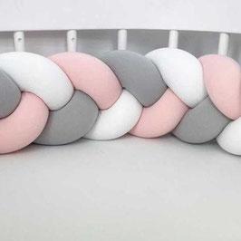 """tour de lit tresse à 3 brins 3m """"mix light grey-white-candy pink"""""""