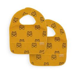 "bavoir imperméable (duo pack) ""tigre moutarde"""