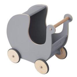 poussette grise en  bois pour poupée