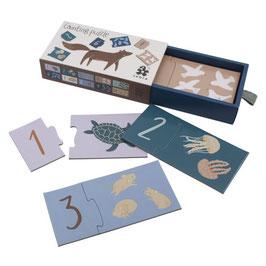 """puzzle chiffre 1 à 10 """"animaux terre & mer"""""""