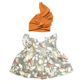 robe et bonnet en jersey pour poupée 38cm