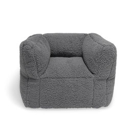 fauteuil pouf teddy gris