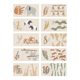 """puzzle chiffre 1 à 10 """"animaux de la savane"""""""