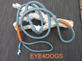 Hondensliplijn Dotted Charcoal Grey Aqua 8mm