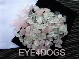 Combinatie van Bergkristal met Rozenkwarts voor het maken van edelsteenwater.