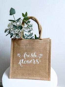 Jutetasche fresh flowers