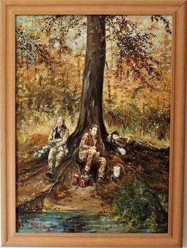 Pause der Waldarbeiter