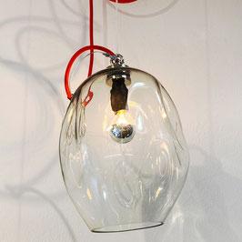 Lampada piccola trasparente, filo elettrico rosso