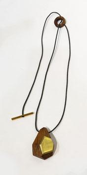 Collana legno e ottone con inserto