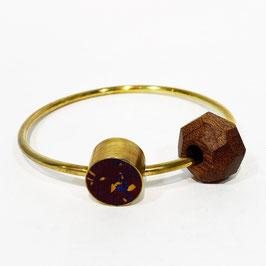 Bracciale Cerchio ottone, legno e argilla - viola scuro