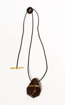 Collana legno scuro e ottone