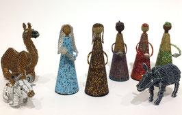 Natività Completa in Fil di Ferro e Perline - Bue e cammello seduti