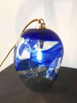 Lampada piccola blu, filo elettrico oro