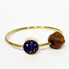 Bracciale Cerchio ottone, legno e argilla - blu