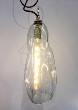 Lampada Allungata Trasparente, Filo Elettrico Bordeaux - Ngwenya Glass