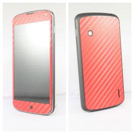 LG Google Nexus 4 Carbonfolie Rot