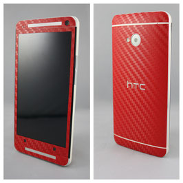 HTC One M7 Carbonfolie rot