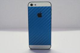 iPhone 5s Carbon Folie Weiß/Mittel Blau